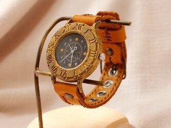 手作り腕時計 Via Ostiensis(十字架レトロ時計 アンティークケース Black & Brown)の画像
