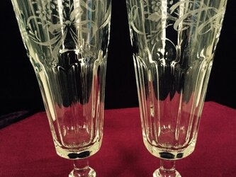 リボンと小花のペアグラス 〜手彫りガラス〜をの画像
