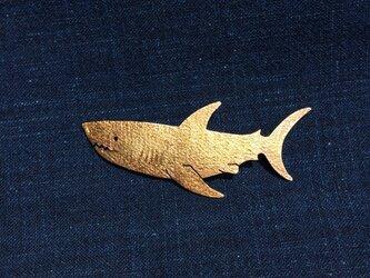 受注制作 サメ  真鍮ブローチの画像