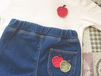 【4枚セット】りんごのモチーフ  コットン毛糸《受注制作》の画像