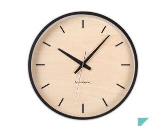 KATOMOKU plywood wall clock 5 電波時計 連続秒針 km-50BRCの画像