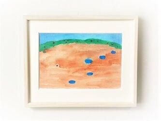 「雨上がりの晴れた空に」イラスト原画 ※額縁入りの画像
