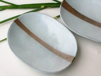 土灰の楕円皿ーよこLINEの画像