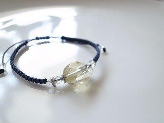レモンクォーツ&ハーキマーダイヤモンド マクラメ結びブレスレットの画像