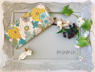 大人かわいい布財布 イエロー×ブルー小花の画像