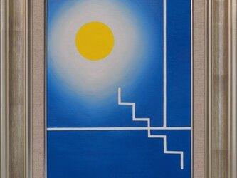 ●『青の部屋』●がんどうあつし絵画油絵F4号額付 肉筆原画直筆 寒色涼しい沈静化集中力blue roomブルー ルームの画像