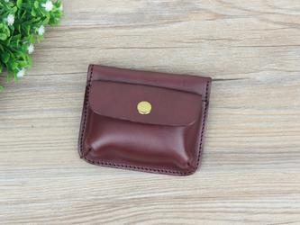 本革 ミニ財布 カード入れ&コインケース ちょっとしたお出かけに最適 ☆RedBrown☆の画像