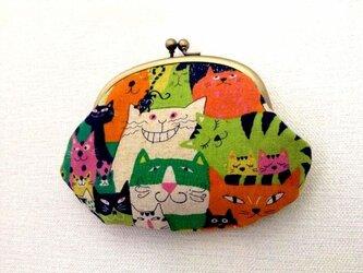 【受注制作】CATS!(オレンジ) - レトロながま口ポーチの画像