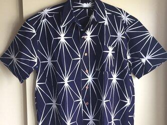 2L〜3L・浴衣シャツ(メンズ向け)麻の葉柄の画像
