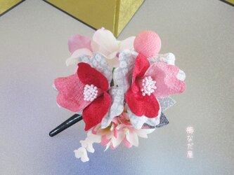 七五三 成人式 和装髪飾り 椿 ちりめん花髪飾り 振袖 着物 ヘアクリップ かんざしの画像