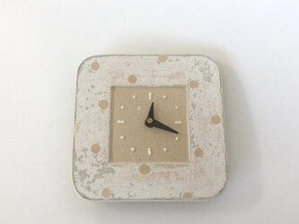 スクエア掛け時計 スノー ドット (陶器)の画像