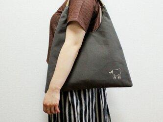 《受注制作》リラの帆布のワンハンドルさんかくバッグ/グレーの画像