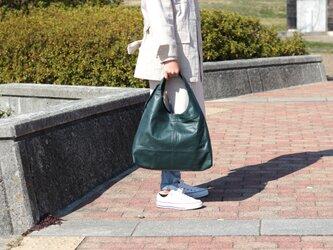柔らかな本革 トートバッグ 軽量 ポニースムース ブルーグリーン 馬革【送料無料】as-09psの画像