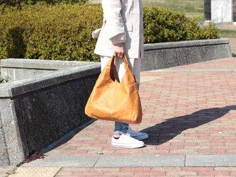 柔らかな本革 トートバッグ 軽量 ポニースムース キャメル 馬革【送料無料】as-09psの画像