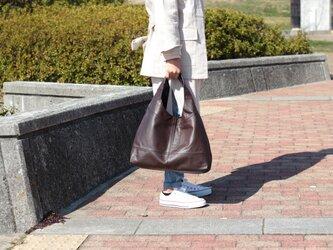 柔らかな本革 トートバッグ 軽量 ポニースムース チョコ 馬革 茶【送料無料】as-09psの画像