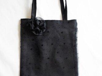 黒色ゴース地のトートバッグの画像