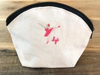 BALLET 刺繍 キャンバスシェルポーチの画像
