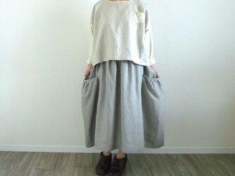 リネンギャザーポケットスカート(スカート丈オーダー可) グレージュの画像
