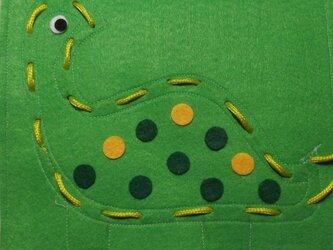 ひも通しのおけいこ(恐竜/黄緑)の画像