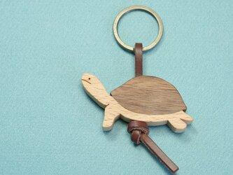 カメ / 亀 木のキーリングの画像