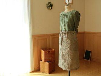 送料無料/67cm丈スリットカフェエプロン/コットンリネン(生成)の画像