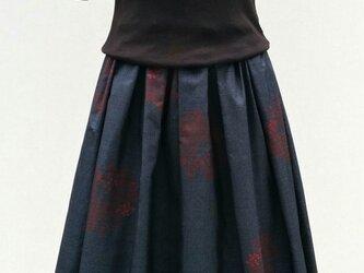 大島紬のリメイクスカート の画像