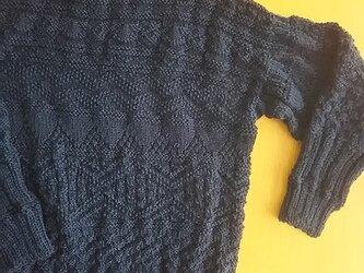 メリノウールの上質な紺色ガーンジーセーター再販(^^)/『受注製作』の画像