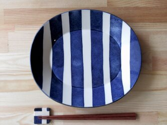 25㎝オーバルリム皿 ストライプの画像