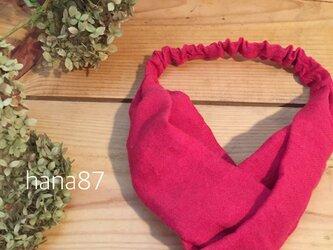 真っ赤なツイストヘアバンド キッズ用の画像