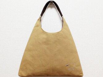 《受注制作》リラの帆布のワンハンドルさんかくバッグ/キャメルの画像