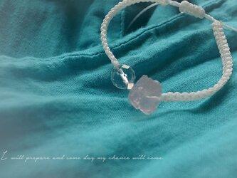 ローズクォーツ&水晶 マクラメ結びブレスレットの画像