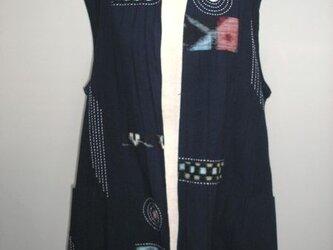 紺色楊柳木綿のきもの衿チュニック丈ベストの画像