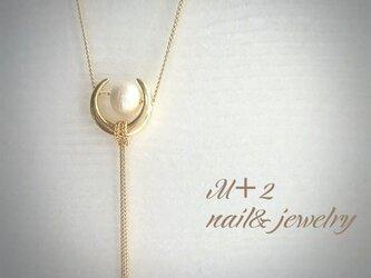 送料無料◆*moon & pearl *ロングネックレスの画像