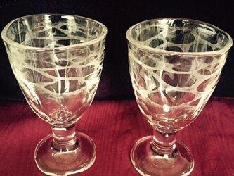 水の文様のペアグラス〜手彫りガラス〜の画像