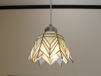 ホワイトブルー・グリーン(ステンドグラスペンダントライト)天井のおしゃれガラス照明 Lサイズ・12の画像