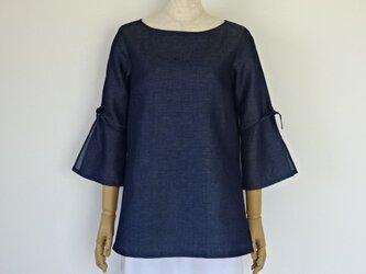 綿麻スリット袖のチュニック・インディゴの画像