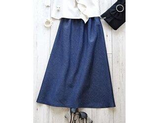 シンプルな綿麻マキシスカート・インディゴ(S/M/Lサイズ)の画像