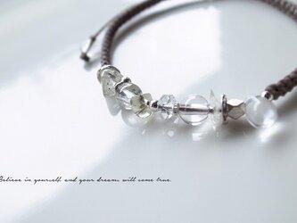 リビアングラス&ヒマラヤ水晶 マクラメ結びブレスレットの画像
