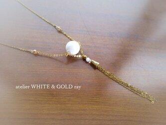 ホワイトオニキス・ロングネックレスの画像