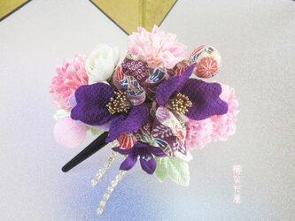 七五三 成人式 和装髪飾り 椿 ちりめん花 紫系 振袖 着物 ヘアクリップ かんざしの画像