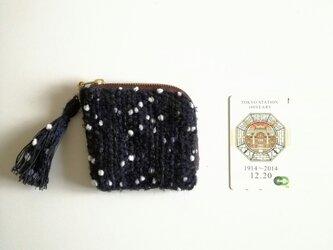 『雪の夜に』 noriko tweed  カードポーチ 手織り コスメ コイン の画像