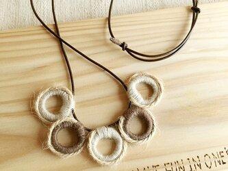 秋色☆麻ひも巻き編みネックレス-ring-beigeの画像