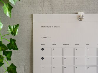 2018 Simple in Shigons A3 縦型/Calendarの画像