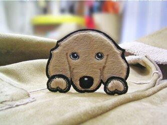 ダックスフンド★ふさふさ犬ワッペン★クリーム/レッド-Bの画像