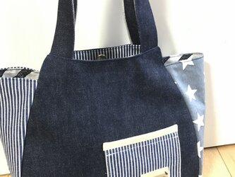 デニムのシンプルかなバッグの画像