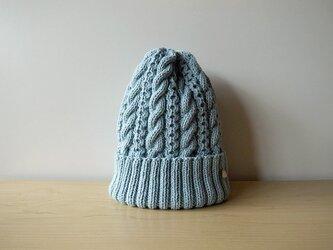 ●SALE●アクアブルーのコットンウールのニット帽の画像