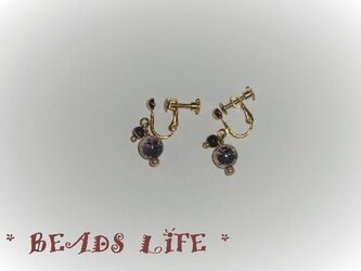 NO825◇唐草ビーズのイヤリング 紫の画像