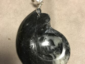 ゴニアタイトと淡水パールのネックレスの画像