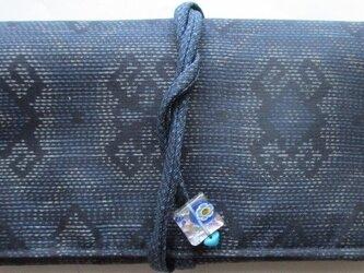 送料無料 着物リメイク 藍大島紬で作った和風財布 2821の画像