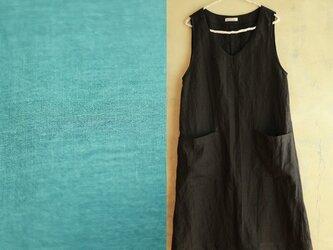 N様オーダー商品/100cm丈Aラインワンピース/綿ダブルガーゼ(ブルーグリーン)の画像